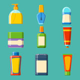 Illustration plate de style de bouteille de Bath de shampooing de douche en plastique de récipient pour la conception d'hygiène d Image stock