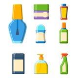 Illustration plate de style de bouteille de Bath de shampooing de douche en plastique de récipient pour la conception d'hygiène d Photo libre de droits