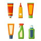 Illustration plate de style de bouteille de Bath de shampooing de douche en plastique de récipient pour la conception d'hygiène d Images libres de droits