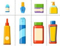 Illustration plate de style de bouteille de Bath de shampooing de douche en plastique de récipient pour la conception d'hygiène d Photos libres de droits