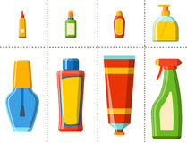 Illustration plate de style de bouteille de Bath de shampooing de douche en plastique de récipient pour la conception d'hygiène d Photographie stock