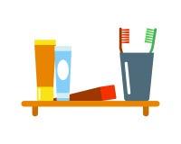 Illustration plate de style de douche d'icônes d'équipement de Bath pour la conception de vecteur d'hygiène de salle de bains Photos libres de droits