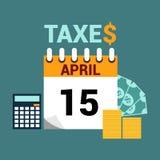 Illustration plate de style de jour d'impôts Image stock