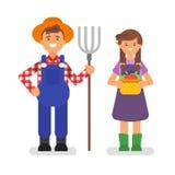 Illustration plate de style de vecteur des agriculteurs Photo stock
