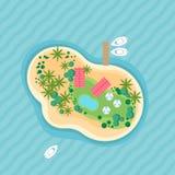 Illustration plate de vecteur avec le dessus d'île Beau rivage de destination de vacances avec l'océan, la plage, la paume, les b illustration libre de droits