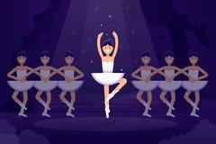 Illustration plate de vecteur de ballet, ballerines dans la danse sur l'étape avec la lumière sur le fond foncé Prima de ballet Image stock