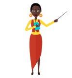 Illustration plate de vecteur de bande dessinée de caractère de tuteur de professeur de fille de femme d'animation d'afro-américa Image stock