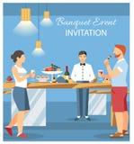 Illustration plate de vecteur de carte d'invitation de banquet illustration de vecteur