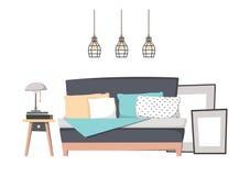 Illustration plate de vecteur - conception intérieure à la maison WI confortables de chambre à coucher illustration libre de droits