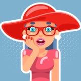 Illustration plate de vecteur de conception de personnage de dessin animé de visage de paume de main de femme de fille d'Art Sale Photo stock