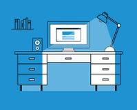 Illustration plate de vecteur de conception de poste de travail Image libre de droits