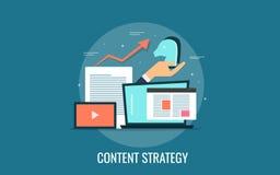 Illustration plate de vecteur de conception de stratégie marketing satisfaite illustration libre de droits