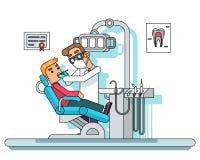 Illustration plate de vecteur de conception de traitement de docteur de dentiste de chaise de patient hospitalisé d'armoire de li illustration stock