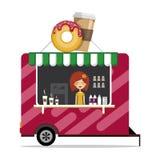 Illustration plate de vecteur de conception de voiture mobile avec du café et des butées toriques le café vont à illustration libre de droits