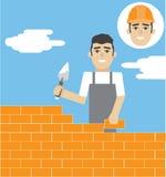 Illustration plate de vecteur d'†de profession de constructeur (travailleur manuel) « illustration stock