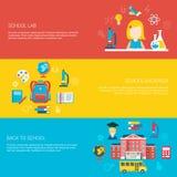 Illustration plate de vecteur d'école de sac à dos de laboratoire de fille Photos libres de droits