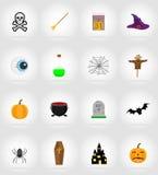Illustration plate de vecteur d'icônes de Halloween Photos stock
