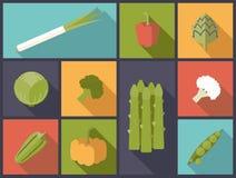 Illustration plate de vecteur d'icônes de légumes Photo libre de droits