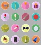 Illustration plate de vecteur d'icônes réglée par célébrations Photographie stock libre de droits