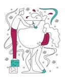 Illustration plate de vecteur d'une partie avec un verre de vin illustration libre de droits