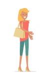 Illustration plate de vecteur de belle femme heureuse Photographie stock libre de droits