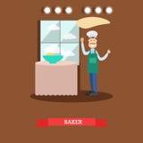 Illustration plate de vecteur de boulanger faisant la pâte Photo stock