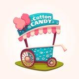 Illustration plate de vecteur de chariot de sucrerie de coton Image stock