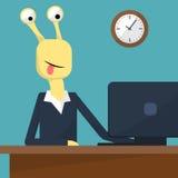 Illustration plate de vecteur de conception d'intérieur de bureau Monstre au travail Vecteur Images stock