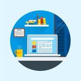 Illustration plate de vecteur de conception d'intérieur moderne de bureau Image libre de droits