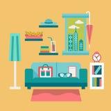 Illustration plate de vecteur de conception d'intérieur moderne de siège social avec le sofa et l'ordinateur portable Photographie stock libre de droits