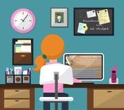 Illustration plate de vecteur de conception de pièce avec l'espace de travail Fille au travail Vecteur Photo stock