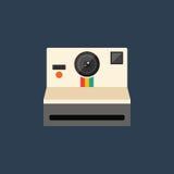 Illustration plate de vecteur de conception de rétro de vintage d'appareil-photo icône de style Image libre de droits