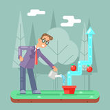 Illustration plate de vecteur de conception de Watering Growth Infographic d'homme d'affaires réussi Illustration Stock