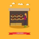 Illustration plate de vecteur de ferme de poulet illustration de vecteur
