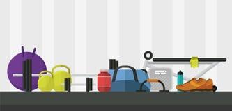 Illustration plate de vecteur de style de gymnase Image libre de droits