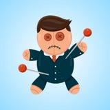 Illustration plate de vecteur de vaudou de poupée d'homme d'affaires ou de politicien Concurrent politique ou d'affaires illustration de vecteur