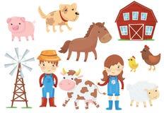 Illustration plate de vecteur de divers animaux domestiques bétail, oiseaux, enfants dans des combinaisons fonctionnantes bleues, illustration de vecteur