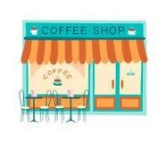 Illustration plate de vecteur de façade de café illustration de vecteur