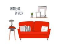 Illustration plate de vecteur - intérieur à la maison Salon ozy de ¡ de Ð avec illustration stock