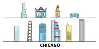 Illustration plate de vecteur de points de repère des Etats-Unis, Chicago Ligne ville des Etats-Unis, Chicago avec des vues célèb illustration de vecteur