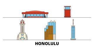 Illustration plate de vecteur de points de repère des Etats-Unis, Honolulu Ligne ville des Etats-Unis, Honolulu avec des vues cél illustration de vecteur