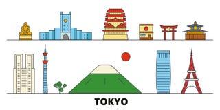 Illustration plate de vecteur de points de repère du Japon, Tokyo Ligne ville avec des vues célèbres de voyage, horizon, concepti illustration libre de droits