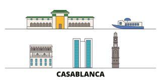 Illustration plate de vecteur de points de repère du Maroc, Casablanca Ligne ville avec des vues célèbres de voyage, horizon du M illustration libre de droits