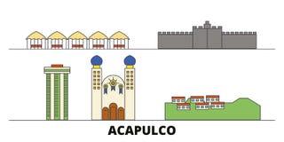 Illustration plate de vecteur de points de repère du Mexique, Acapulco Ligne ville avec des vues célèbres de voyage, horizon du M illustration de vecteur