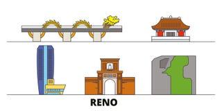 Illustration plate de vecteur de points de repère du Vietnam, Reno, Danang Ligne ville du Vietnam, Reno, Danang avec des vues cél illustration de vecteur