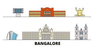 Illustration plate de vecteur de points de repère de l'Inde, Bangalore Ligne ville avec des vues célèbres de voyage, horizon de l illustration stock