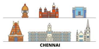 Illustration plate de vecteur de points de repère de l'Inde, Chennai Ligne ville avec des vues célèbres de voyage, horizon, conce illustration libre de droits