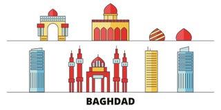 Illustration plate de vecteur de points de repère de l'Irak, Bagdad Ligne ville avec des vues célèbres de voyage, horizon, concep illustration stock