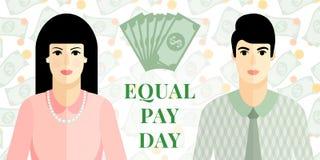 Illustration plate de vecteur pour le jour d'égalité de salaires illustration stock