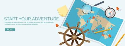 Illustration plate de vecteur de style de voyage et de tourisme Carte et globe de la terre du monde Voyage de visite de voyage, v illustration libre de droits